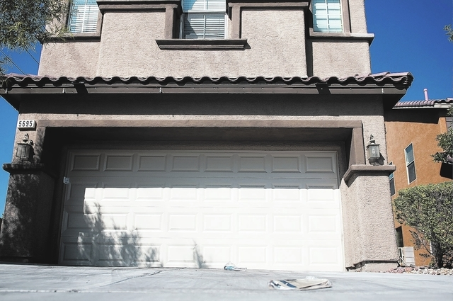 The home where the bodies of Megan Kathleen Lanza and Nicholas Frank Lanza were found Wednesday is seen on Friday, Sept. 13, 2013, in Las Vegas, Nev. (Erik Verduzco/Las Vegas Review-Journal)