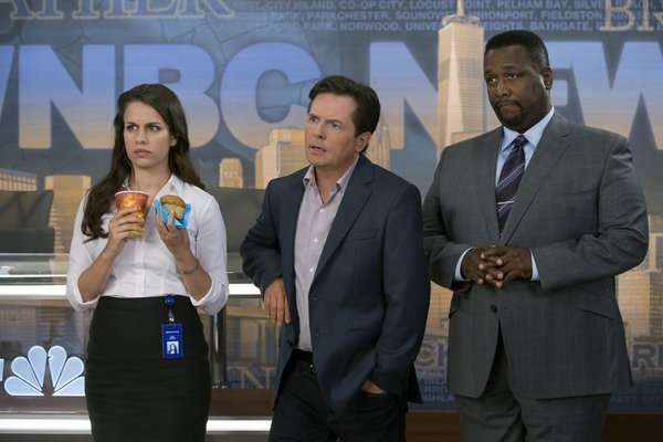 THE MICHAEL J. FOX SHOW -- Season:1 -- Pictured: (l-r) Ana Nogueira as Kay, Michael J. Fox as Mike Henry, Wendell Pierce as Harris -- (Photo by: Eric Liebowitz/NBC)