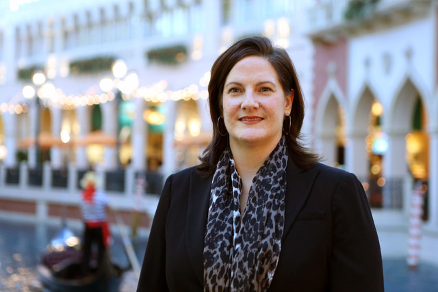 Janet LaFevre, senior marketing manager at Grand Canal Shoppes and Fashion Show Mall, stands near the gondola ride at the Grand Canal Shoppes in the Venetian hotel-casino Frida in Las Vegas. (Rond ...