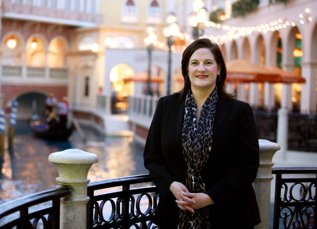 Janet LaFevre, senior marketing manager at Grand Canal Shoppes and Fashion Show Mall, stands near the gondola ride at the Grand Canal Shoppes in the Venetian hotel-casino Friday in Las Vegas. (Ron ...