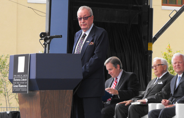 Fred W. Smith, chairman of the Donald W. Reynolds Foundation, speaks at Mount Vernon, Va., on Friday, Sept. 27, 2013, at the opening of the Fred W, Smith National Library for the Study of George W ...