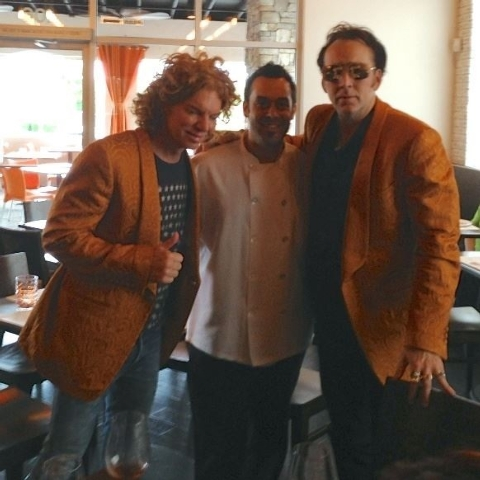 Nic Cage and Carrot Top on Sept. 7 at Due Forni with chef Carlos Buscaglia. Courtesy photo.