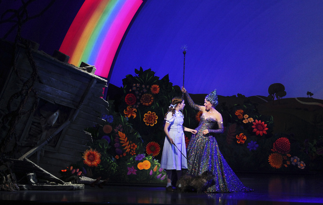 Danielle Wade, left, and Robin Evan Willis perform during a showing of The Wizard of Oz at the Smith Center for the Performing Arts in Las Vegas on Sept. 10. (Jason Bean/Las Vegas Review-Journal)