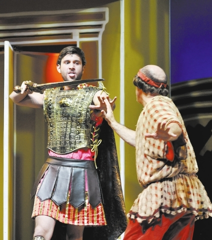 """Jordan Bondurant as Miles Gloriosus, left, performs a scene with Jamie Torcellini as Pseudolus during a Nevada Conservatory Theatre rehearsal for """"A Funny Thing Happened on the Way to the Forum"""" i ..."""