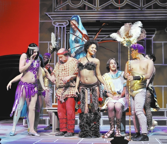 """Cast members from the Nevada Conservatory Theatre production of """"A Funny Thing Happened on the Way to the Forum"""" rehearse a scene in the Judy Bayley Theatre at UNLV, April 23, 2012. (Bill Hughes/V ..."""