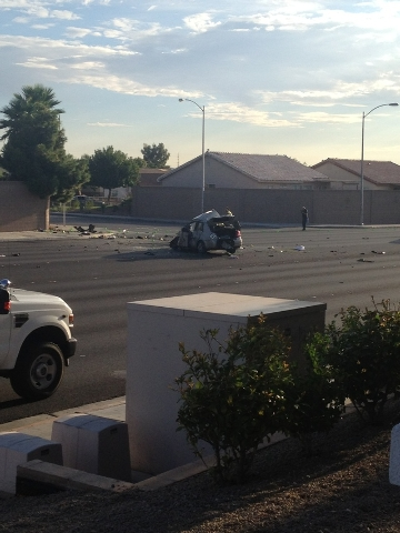 Steven Slivka/Las Vegas Review-Journal A woman is dead after her car struck a brick wall near Lake Mead Boulevard and Simmons Street Monday morning.