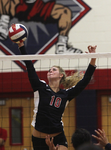 Coronado's Berkeley Oblad (10) spikes the ball against Legacy during their volleyball match in Henderson on Sept. 17, 2013. (Jason Bean/Las Vegas Review-Journal)