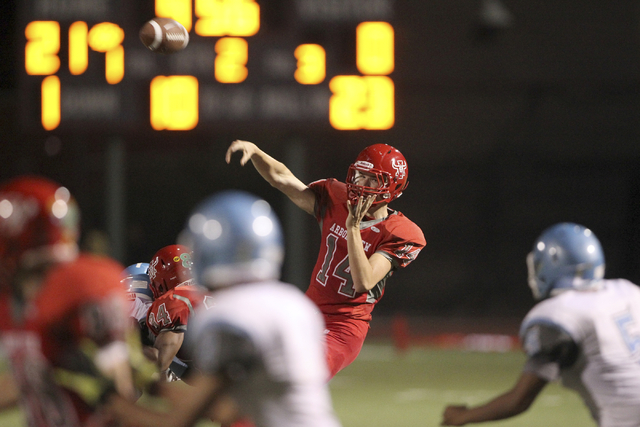 Arbor View quarterback Andrew Cornwell throws a pass against Centennial in the second quarter of their football game at Arbor View High School Thursday, Sept. 12, 2013. (K.M. Cannon/Las Vegas Revi ...