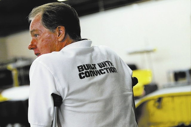 Program supervisor Craig Korsgaard oversees inmate workers in the car restoration program, operated through Silver State Industries, at the Southern Desert Correctional Center near Indian Springs  ...