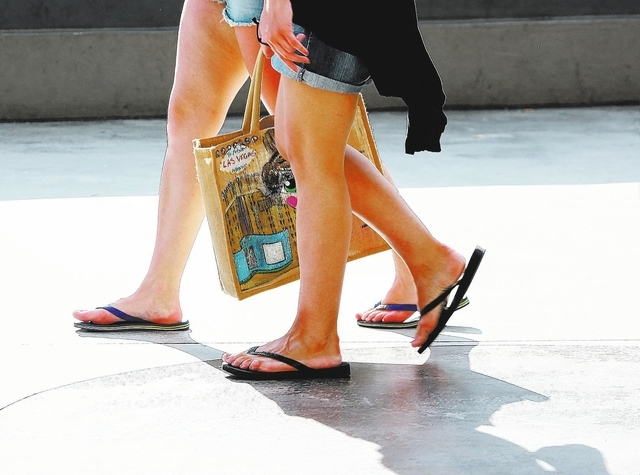 Chase Stevens/Las Vegas Review-Journal Two women, one with a tote bag, walk outside of the Planet Hollywood hotel-casino off of Las Vegas Boulevard on Friday, Aug. 30, 2013.