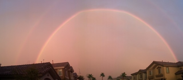 A rainbow comes out after the storm. (Eric Locklar/COURTESY)