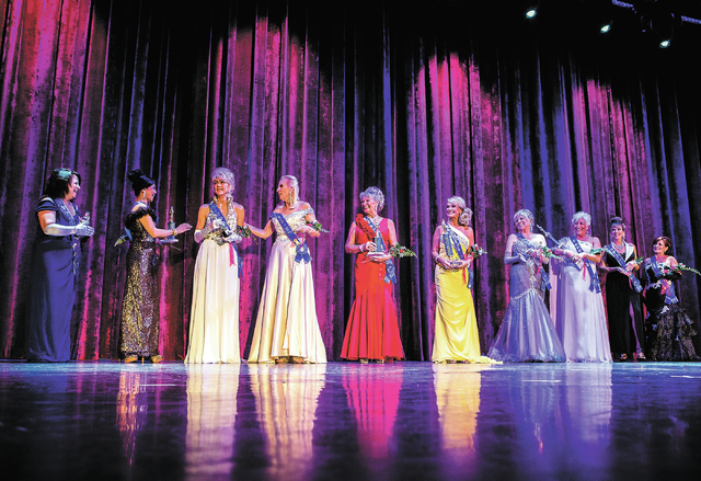 Ms. Senior Nevada Pageant  contestants as seen when Kathleen 'Kat' Ray, third from left is crown at  the South Point Casino-Hotel Showroom on Wednesday, Aug. 21, 2013. Other contestants from left, ...