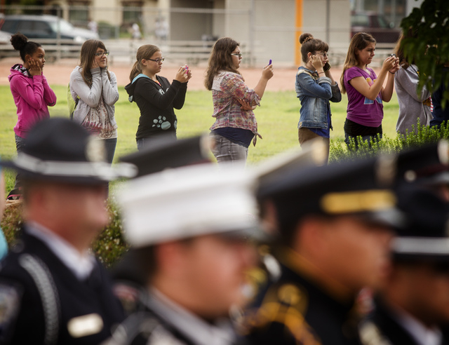 Hyde Park Middle School students  as seen during a  21 Gun Salute at the a 9/11 Remembrance on Wednesday, Sept, 11 at Las Vegas Fire Station Five, located at 1020 Hinson Street. (Jeff Scheid/Las V ...