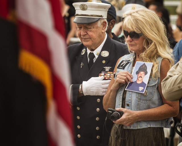 Henderson residents Paul Geidel,left, and his wife Barbara during a 9/11 Remembrance at Las Vegas Fire Station Five, located at 1020 Hinson Street, on Wednesday, Sept, 11. Paul Geidel, a retired N ...