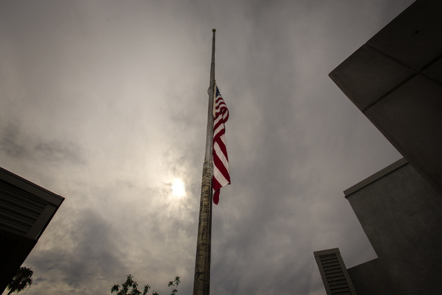 A flag at half staff that once flew at Ground Zero clean up site at the World Trade Center as seen during a 9/11 Remembrance at Las Vegas Fire Station Five, located at 1020 Hinson Street, on Wedne ...