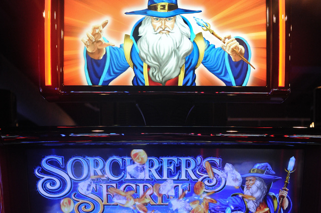 Sorcerer's Secret slot machine is seen inside a showroom at Bally Technologies in Las Vegas Thursday, Sep. 12, 2013. (David Cleveland/Las Vegas Review-Journal)