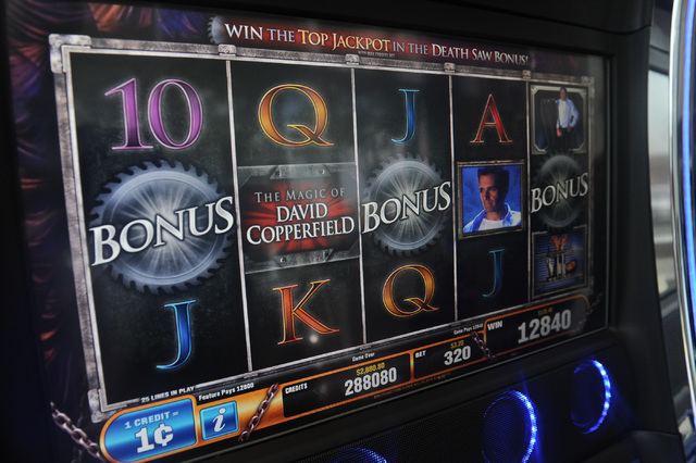 The Magic of David Copperfield slot machine is seen inside a showroom at Bally Technologies in Las Vegas Thursday, Sep. 12, 2013. (David Cleveland/Las Vegas Review-Journal)