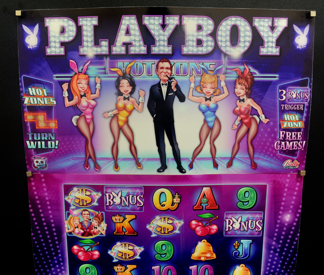 Artwork from a Playboy themed slot machine is seen on display at Bally Technologies in Las Vegas Thursday, Sep. 12, 2013. (David Cleveland/Las Vegas Review-Journal)