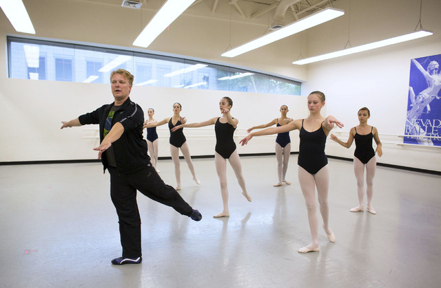 Nilas Martins, left, leads a class at the Academy of the Nevada Ballet Theatre, Sept. 9. Martins and his wife, Monique Meunier, are the new co-directors of the academy. (Samantha Clemens/View)
