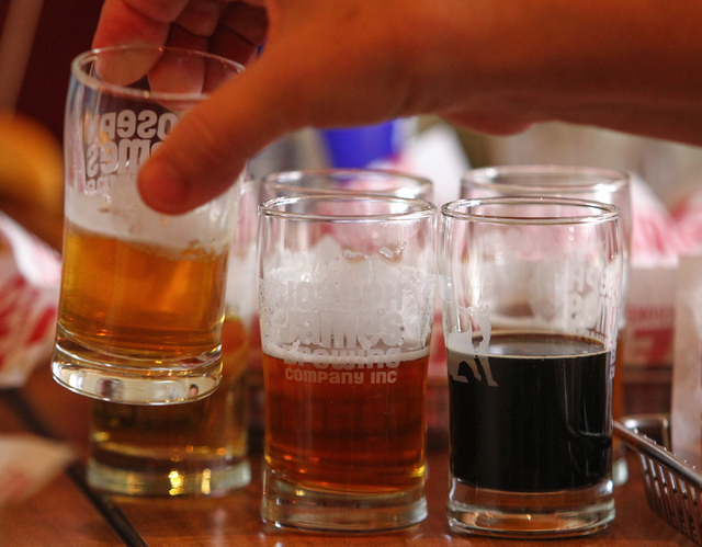 A variety of beers from Joseph James Brewing Company are lined up for a tasting and pairing at Smashburger at 9400 S. Eastern Ave. in Henderson on Friday, Aug. 16. (Chase Stevens/Las Vegas Review- ...
