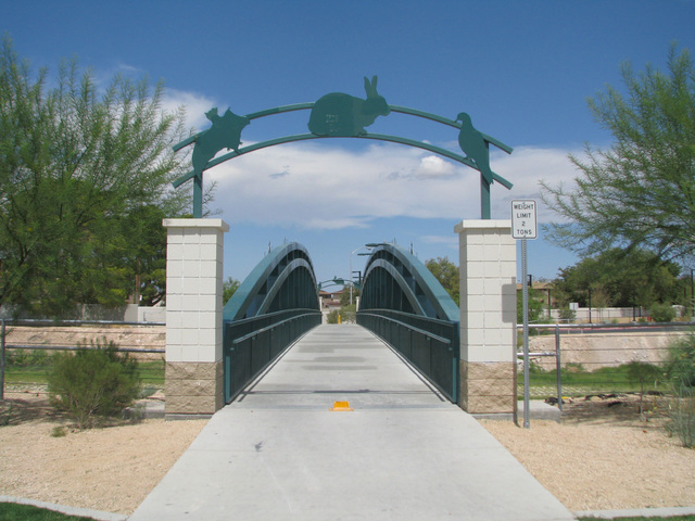 The Douglas A. Selby Trailhead includes a splashpad play area, a picnic shelter and an information kiosk. The trailhead and park's name honors former Las Vegas City Manager Douglas A. Selby. (F. A ...