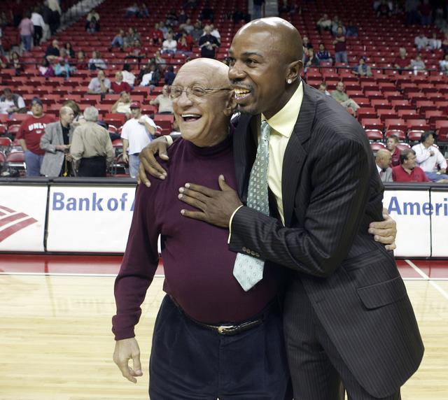 UNLV's former coach Jerry Tarkanian gets a hug from former UNLV player Greg Anthony after an alumni game on Nov. 7, 2006, at the Thomas & Mack Center.  (John Gurzinski/Las Vegas Review-Journal)