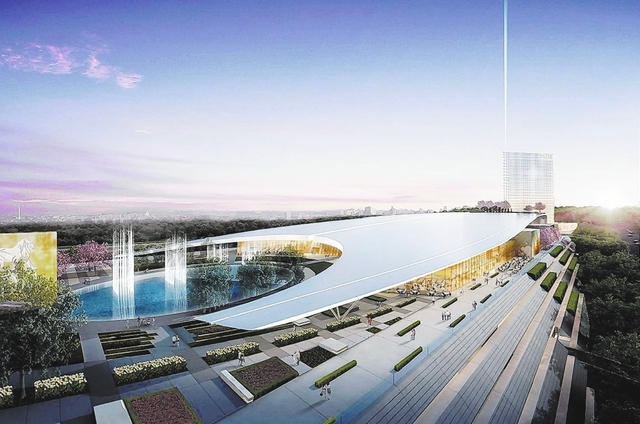 The proposed MGM National Harbor would incorporate a pedestal design meant to invoke the Lincoln Memorial and other Washington landmarks.  MGM Resorts International unveiled the design on Wednesda ...