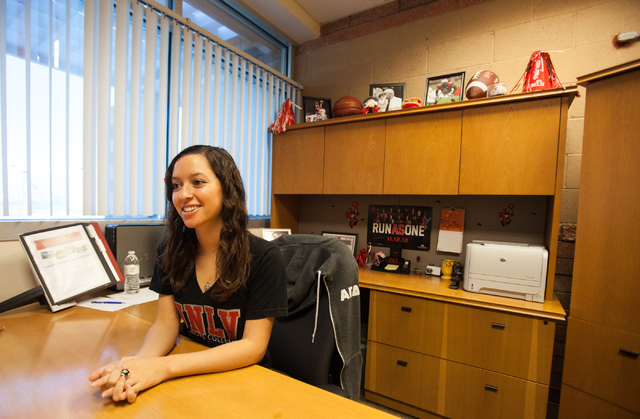 UNLV junior and Housing and Residential Life Community Operations Manager Ashley Seda talks about the prepaid tuition program at her office on campus on Thursday, Sept. 26, 2013. (Chase Stevens/La ...