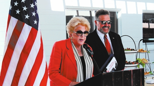 Las Vegas Mayor Carolyn Goodman gives nonprofit WestCare board member John Moran a key to the city Sept. 18, 2013, at the WestCare's Women and Children's campus, 5659 Duncan Drive, in Las Vegas. M ...