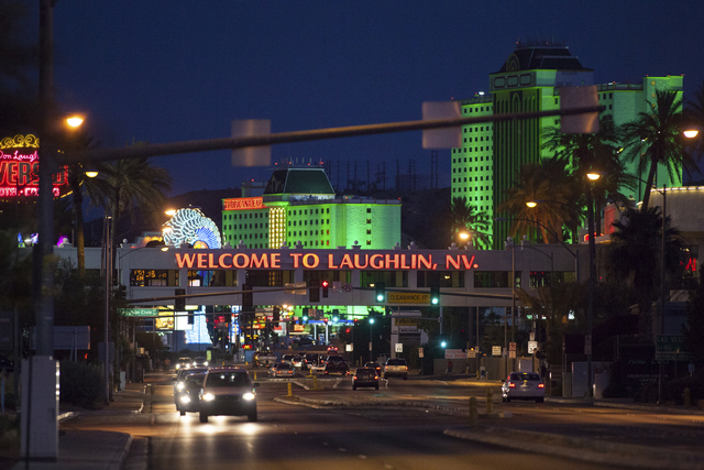 Hotel-casinos line Casino Drive in Laughlin. (Chase Stevens/Las Vegas Review-Journal)