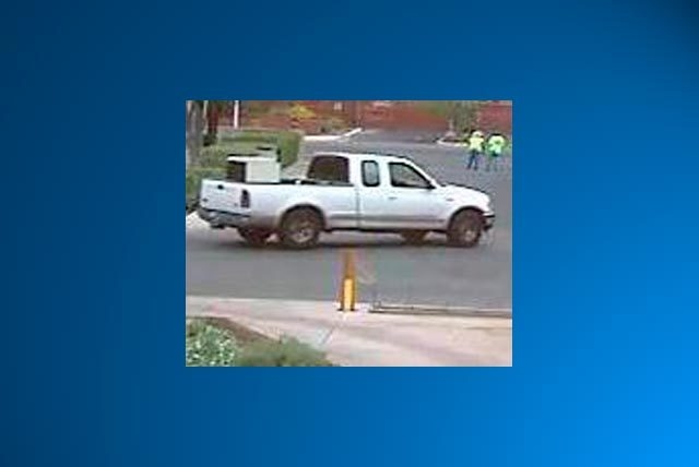 A suspect in an attempted home robbery on Tuesday was driving this two-door white truck with an extended cab.