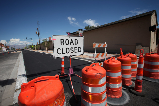 D Street is blocked due to construction in Las Vegas Wednesday, Sep. 4, 2013.  (Jessica Ebelhar/Las Vegas Review-Journal)