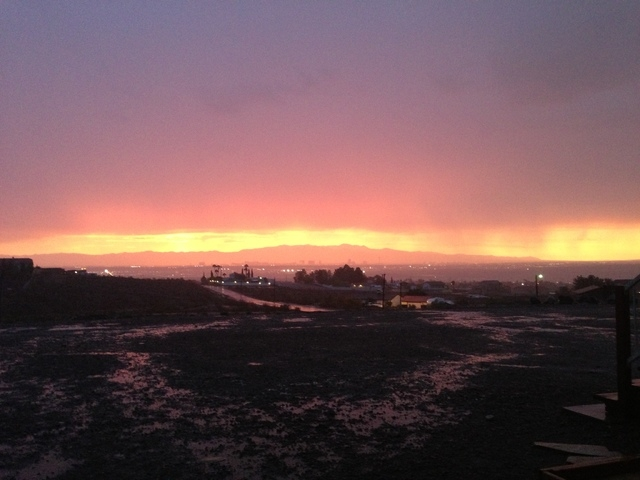 A view of the valley from Henderson as the storm rolled through at sunset Monday evening. (Tonya Carpenter/Las Vegas Re)
