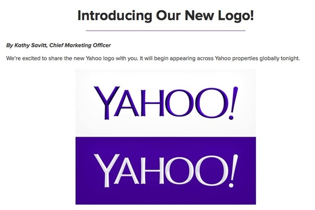 This screen grab made from Yahoo Inc.'s Tumblr page shows the company's new logo in a post published on Wednesday, Sept. 4, 2013. (AP Photo/Yahoo Inc.)