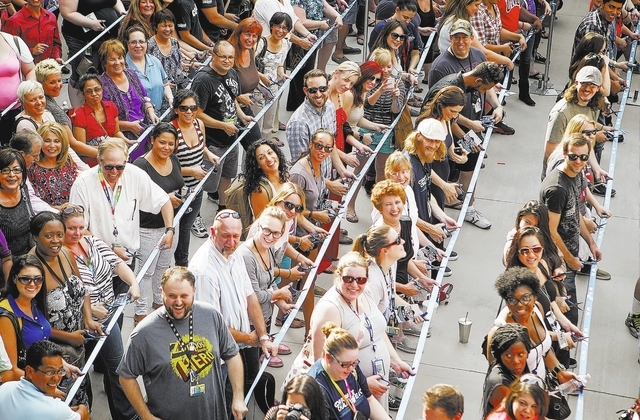 Zappos employees during the ribbon cutting event at the company's headquarters  at 400 Stewart Avenue on Monday, Sept. 9, 2013.  Zappos opened its new headquarter at the site of the former Las Veg ...