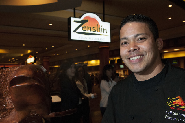 Yoji Shimonishi, executive chef at Zenshin restaurant in the South Point Hotel, poses for a photo on Saturday, Sept. 7, 2013, in Las Vegas, Nev. Zenshin opened for business in March. (Erik Verduzc ...