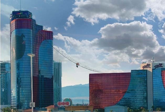 A new thrill ride, a zip line-like attraction called VooDoo Skyline, is expected to open this summer at the Rio. It will connect the resort's two towers. (RENDERING COURTESY OF CAESARS ENTERTAINMENT)