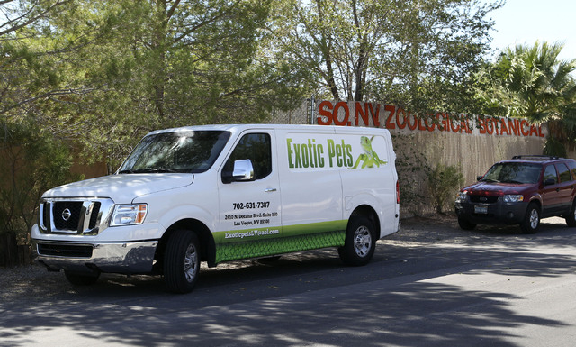 A truck from Exotic Pets is parked in front of the Las Vegas Zoo, Wednesday, Sept. 25, 2013.  (Jerry Henkel/Las Vegas Review-Journal)