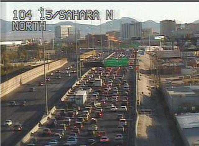 A traffic cam still showing the backed up traffic on I-15 northbound at Sahara. (Courtesy/NDOT traffic cam)