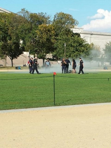 First responders and people assist a man who apparently set himself on fire at the National Mall in Washington in this October 4, 2013 handout photo by Vanessa Sink. The man was rushed to a local  ...