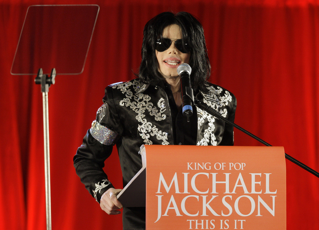 In this March 5, 2009 file photo, US singer Michael Jackson announces at a press conference that he is set to play ten live concerts at the London O2 Arena in July 2009, in London. A Los Angeles j ...