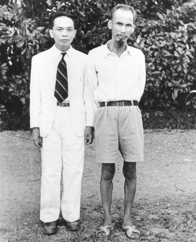 FILE - In this 1950 file photo, Ho Chi Minh, right, who became president of North Vietnam, poses with Vo Nguyen Giap, minister of Interior in Ho Chi Minh's provisional government in Vietnam. Offic ...