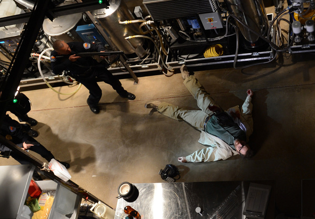 """This image released by AMC shows Bryan Cranston, as Walter White, in the final scene from  """"Breaking Bad.""""  The popular series about a chemistry teacher-turned drug dealer ended on Sunda ..."""