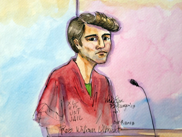 This artist rendering shows Ross William Ulbricht appearing in Federal Court in San Francisco on Friday, Oct. 4, 2013. A federal judge in San Francisco has postponed the bail hearing for Ulbricht  ...