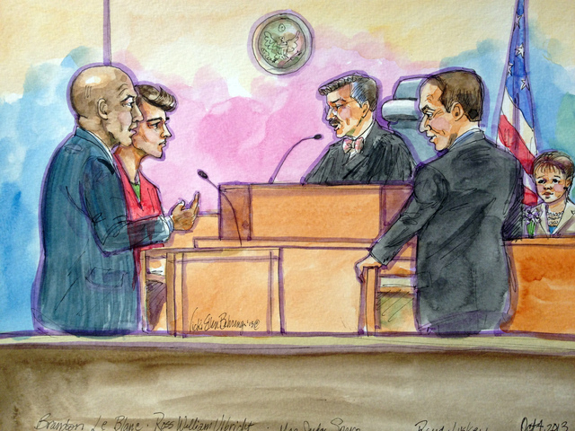This artist rendering shows Ross William Ulbricht, second from left, appearing in Federal Court with his public defender Brandon LeBlanc, left, in San Francisco on Friday, Oct. 4, 2013. U.S. Magis ...