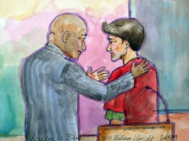 This artist rendering shows Ross William Ulbricht, right, appearing in Federal Court with his public defender Brandon LeBlanc, left, in San Francisco on Friday, Oct. 4, 2013. U.S. Magistrate Judge ...