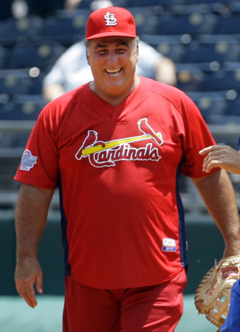 FILE - In this May 22, 2010, file photo, former St. Louis Cardinals baseball player Jack Clark smiles during a softball game against former Kansas City Royals players in Kansas City, Mo. Albert Pu ...