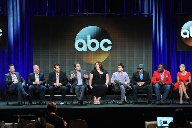 "In this Aug. 4, 2013 file photo, ""Lucky 7"" cast and crew, from left, Darryl Frank, Justin Falvey, Jason Richman, David Zabel, Lorraine Bruce, Matt Long, Luis Antonio Ramos, Isiah Whitlock, Jr. and ..."