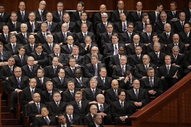 In this April 6, 2013, file photo, members of the Mormon Tabernacle Choir look on during the 183rd Annual General Conference of The Church of Jesus Christ of Latter-day Saints, in Salt Lake City.  ...