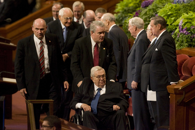 In this Oct. 7, 2012 file photo, Boyd K. Packer, of the Quorum of the Twelve Apostles, leaves the morning session of the 182nd Semiannual General Conference of the LDS Church in Salt Lake City.    ...